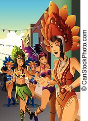 Dancing people in a street carnival - A vector illustration...