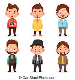Men avatars in different outfits - A vector illustration of...