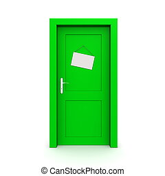 Closed Green Door With Door Sign