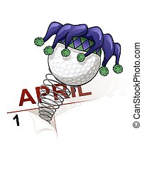 April Fool Golf - A golf ball jester springing out of the...