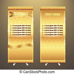 Roll up banner - Vector of roll up banner stand, gold color...