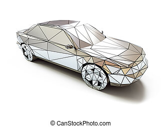 low-poly style car - isolated chrome low-poly style car. 3d...