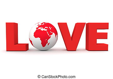 Love World Red - blue word Love with 3D globe replacing...