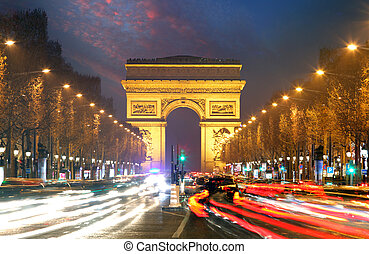 Champs elysees and Arc de Triumph, Paris