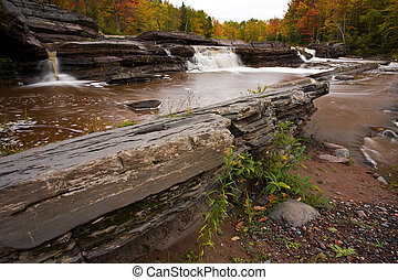 Michigan Upper Peninsula Waterfall In Autumn Bonanza Falls...