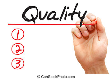 Hand writing Quality List, business concept - Hand writing...