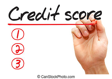 Hand writing Credit Score List, business concept