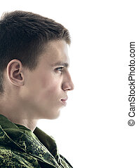 Military Man Portrait - young military man profile, closeup...