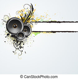 grunge floral abstract banner - illustration of grunge...
