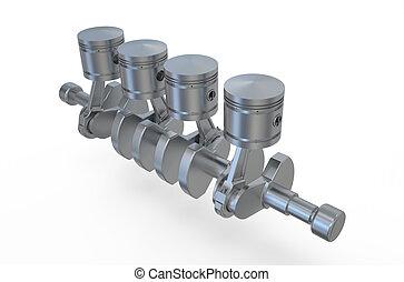 Crankshaft V4 engine pistons isolated on white background