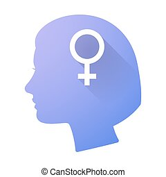 Female head icon with a female sign
