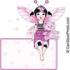 Little cute fairy place card - Little cute fairy sitting on...