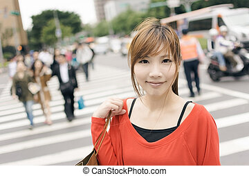 shopping woman - Smile young woman shopping at street in...