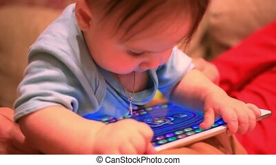 Baby with digital tablet. HD. 1920x1080 - Baby with digital...