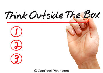 Hand writing Think Outside The Box List, business concept -...