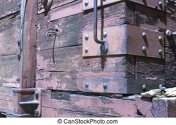 Wooden Boxcar on Railroad Car - Wooden boxcar on an antique...