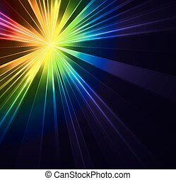 Abstract flash star light. Colorful exploding