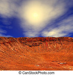 Meteor Crater - Meteor crater in Arizona with background sun
