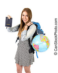 young student tourist woman holding passport carrying...