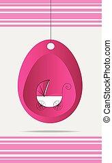 Pink baby stroller background