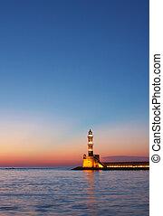 Hania lighthouse at dusk