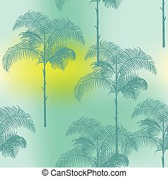 Tropical Palm Trees Background - Gradient Seamless Pattern - in vector
