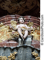 Angel on pulpit in Barmherzigenkirche church in Graz,...