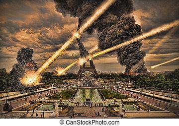 przelotny deszcz, meteoryt, wieża,  Eiffel