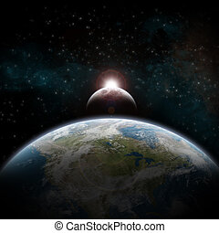 Eclipse on the planet Earth - View of the planet Earth...