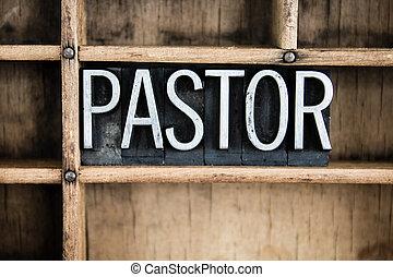 pastor, concepto, metal, texto impreso, palabra, en,...