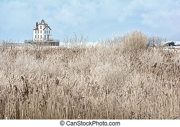 Lorain Lighthouse in Winter - The Lorain Lighthouse is a...