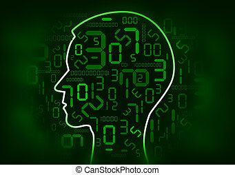 Human Head and digital number - Human Head silhouette with...
