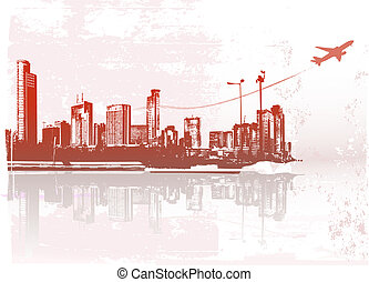 Big City - Grunge styled urban background. Vector...