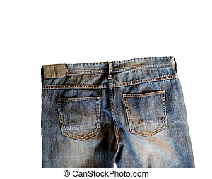 Jeans rear view isolated on white