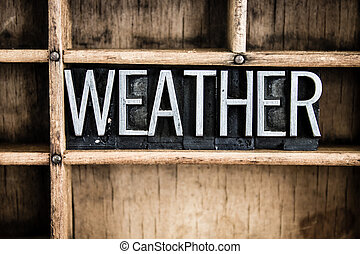 Weather Concept Metal Letterpress Word in Drawer - The word...