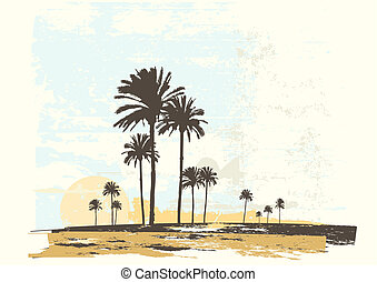 ocean coast - Vector illustration of sunrise on the ocean...