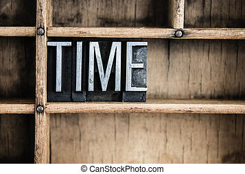 Time Concept Metal Letterpress Word in Drawer - The word...
