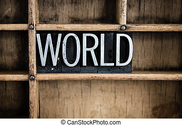 World Concept Metal Letterpress Word in Drawer - The word...