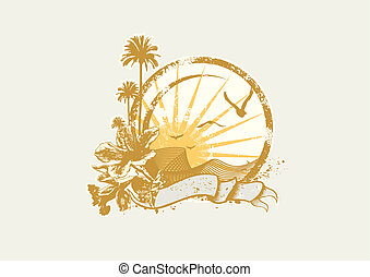 tropical ocean - Vector insignia and banner. Sunrise on the...