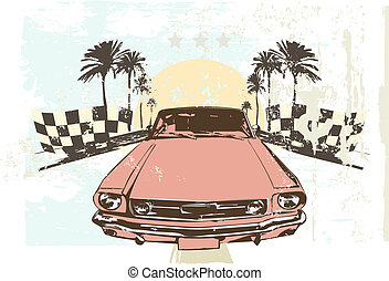 racing car - Vector illustration - High speed racing car on...