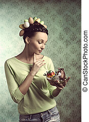Woman in easter outfit - Pretty, brunette woman with funny...