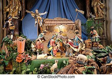 Nativity scene, creche, or crib, birth of Jesus in Mariahilf...