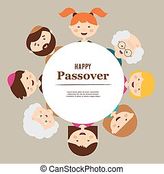 big family around passover plate happy holiday - big family...