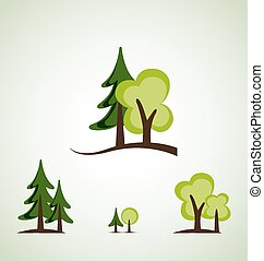 Green trees - Set of different green trees vector...