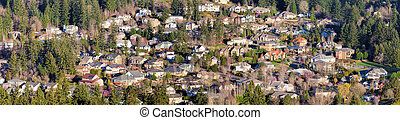 Residential Homes in North American Suburbs Aerial View...