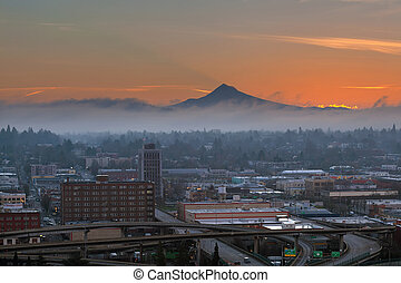 Portland City Eastside at Sunrise - Portland Oregon downtown...