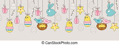 Seamless horizontal border with hanging eggs