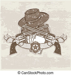 two guns and hat - Vector insignia and banner with two guns...