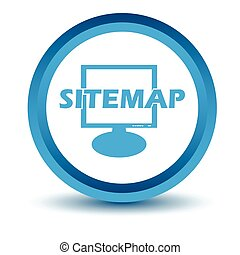 Blue sitemap icon on a white background. Vector illustration