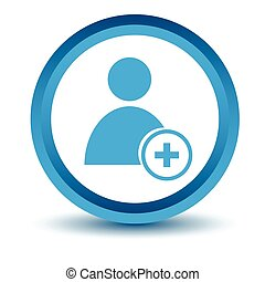 Blue add user icon on a white background. Vector...